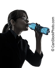business woman drinking water energy silhouette