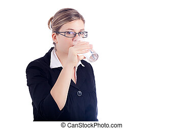 Business woman drinking water