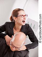 business woman driven insane hitting a man