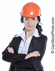 business woman engineer in red protective helmet. isolated on white background
