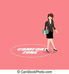 Business woman exit from comfort zone. Business concept