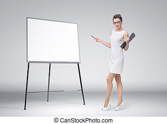 Business woman explain at the board - Business woman explain...