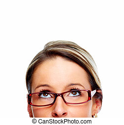 Business woman eyes. - Business woman with eyeglasses....