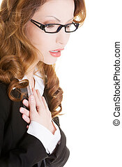Business woman feeling heart pain and holding her chest