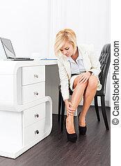 business woman feet pain wear high heel new shoes