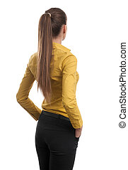 Business woman from the back looking at something