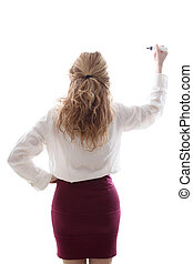 business woman from the back writing