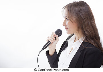 Business woman giving a speech - Cute young business woman...