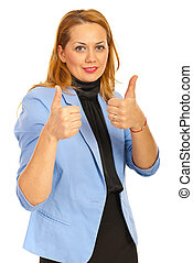 Business woman giving thumbs