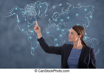 Business woman globalization concept.