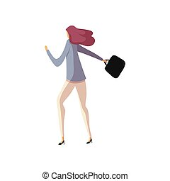 Business woman goes with a briefcase in hand. Vector illustration.