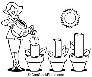 Business Woman Growing Profits Line Art