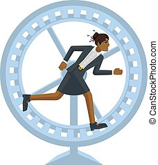 Business Woman Hamster Wheel Stress Concept - A stressed and...