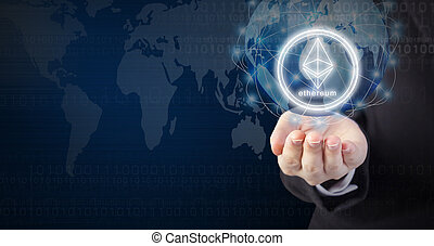 Business woman hand holding ethereum coin and global network connection design with copy space