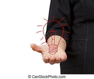 Business Woman hand holding light bulb.