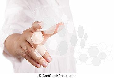 pushing touch screen button - business woman hand pushing...