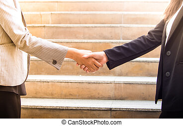 Business woman hand shaking with business partner.