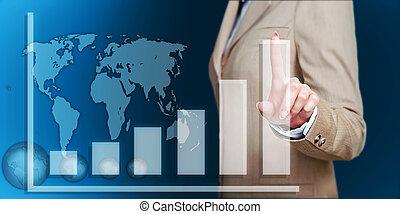 hand touch virtual graph, chart, diagram