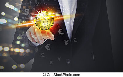 Business woman hand touching bitcoin and symbol