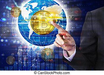 Business woman hand touching bitcoin design