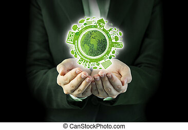 Business woman hands holding world ecology design