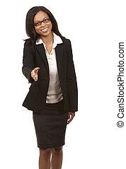 business woman handshake - brunette wearing blue business ...