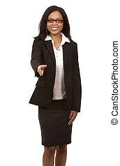 business woman handshake - brunette wearing blue business...