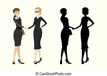 Business woman handshake with silhouette isolated on white background