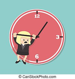 business woman hangs on an arrow of clock