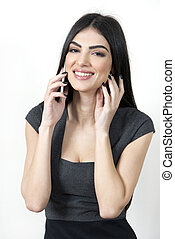 Business woman happy on the phone.