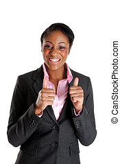 Business woman happy with thumbs up - This is an image of...