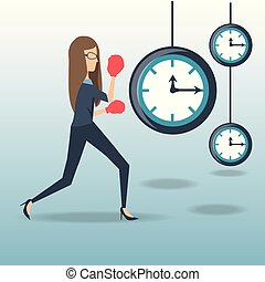 business woman hard working time pressure vector...