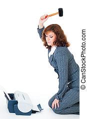Business woman hate printer