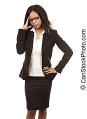 business woman having a headache - beautiful woman with...