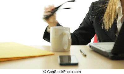 business woman having break at work