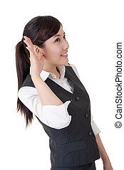 Business woman hear something, closeup portrait on white background.