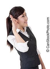 hear - Business woman hear something, closeup portrait on...