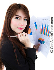 Business woman hold clipboard paper with finance chart...