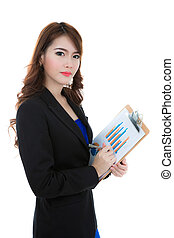 Business woman hold clipboard paper with finance chart isolated over white background