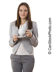 Business woman hold out a cup of the beverage