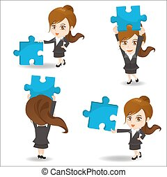 Business woman hold puzzle