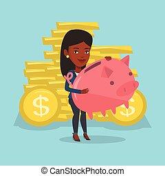 Business woman holding a big piggy bank.