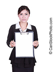 business woman holding a blank clipboard isolated on white