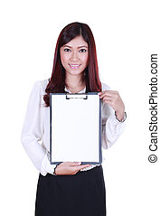 business woman holding a blank clipboard