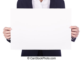 business woman holding a blank paper sheet isolated on white