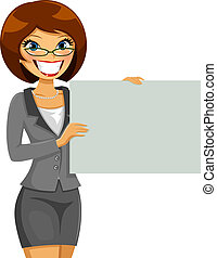 business woman  holding a blank placard