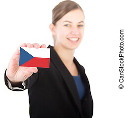 business woman holding a card with the flag of Czech Republic
