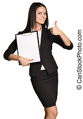 Business woman holding a clip board in hand and the other showing thumbs up.