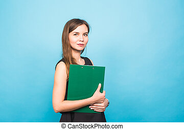 Business Woman Holding A Clip Board on blue background and copy space.