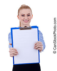Business woman holding a clipboard